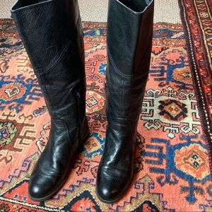 9West Genuine Leather Tall Riding Boots